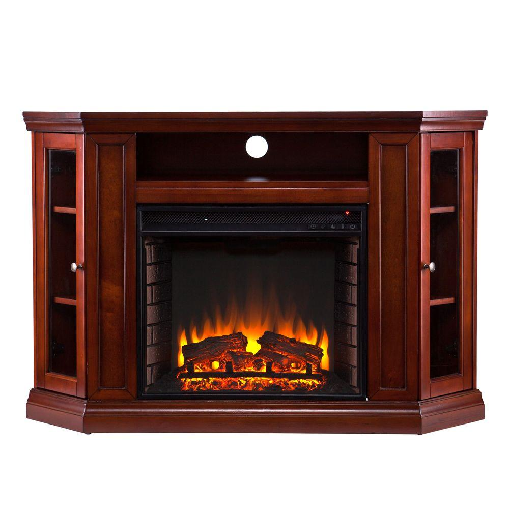 Southern Enterprises Claremont 48 in. Convertible Media Console Electric Fireplace in Mahogany