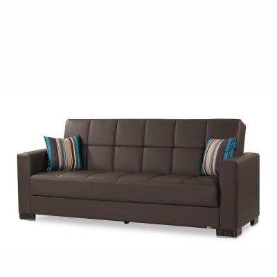 Armada 88 in. Brown Leather 3-Seater Full Sleeper Convertible Sofa Bed with Storage