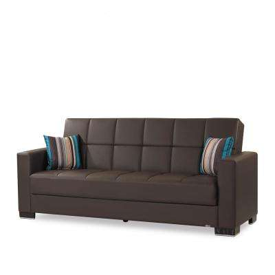 Armada Brown Leatherette Upholstery Sofa Sleeper Bed with Storage