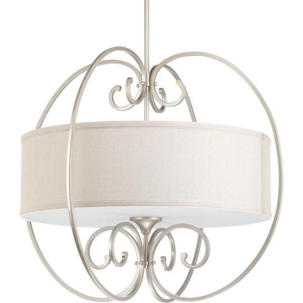 Overbrook Collection 4-Light Silver Ridge Large Pendant with Natural Linen Shade