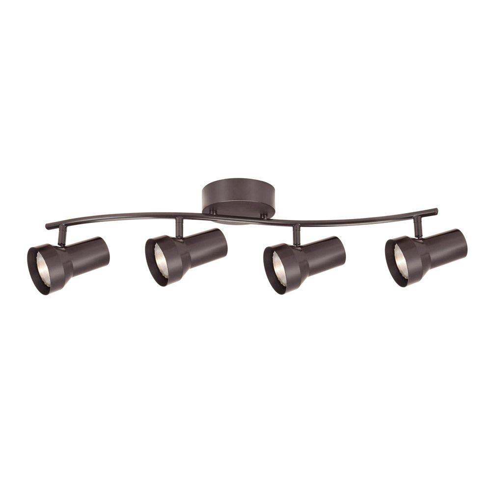4-Light Bronze Fixed Track Lighting Kit with Wave Bar Metal Shade