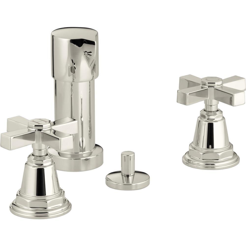 KOHLER Pinstripe 2-Handle Bidet Faucet in Vibrant Polished Nickel