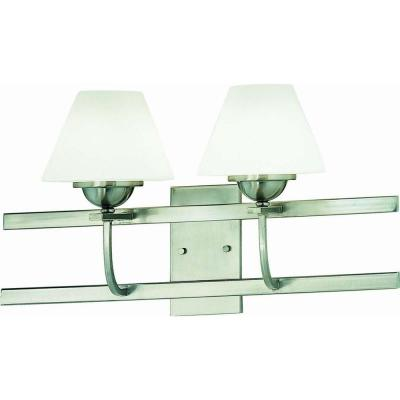 Philippi 2-Light Indoor Brushed Nickel Wall Mount or Wall Sconce with White Cased Glass Lamp Shade