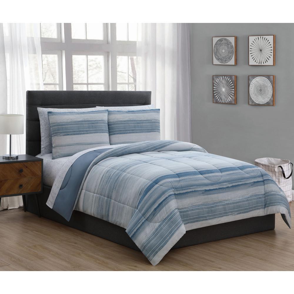Addison House Laken 7 Piece Blue King Comforter Set LAK7BBKINGGHBL