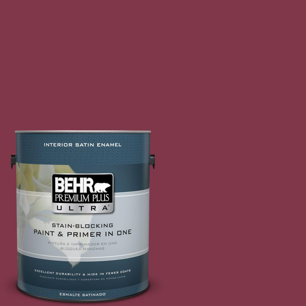 1 gal. #120D-7 Ruby Red Satin Enamel Interior Paint and Primer