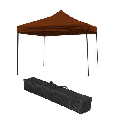 10 ft. x 10 ft. Brown Lightweight and Portable Canopy Tent Set