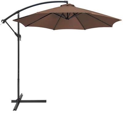 10 ft. Aluminum Outdoor Hanging Market Patio Umbrella in Brown