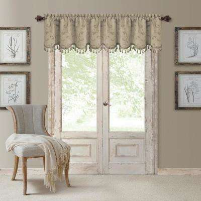 Mia 52 in. W x 19 in. L, Polyester Blackout Woven Window Curtain Drape Valance in Natural