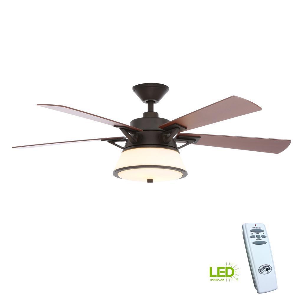Hampton Bay Windward Light Bulb: Hampton Bay Marlowe 52 In. LED Indoor Oil Rubbed Bronze