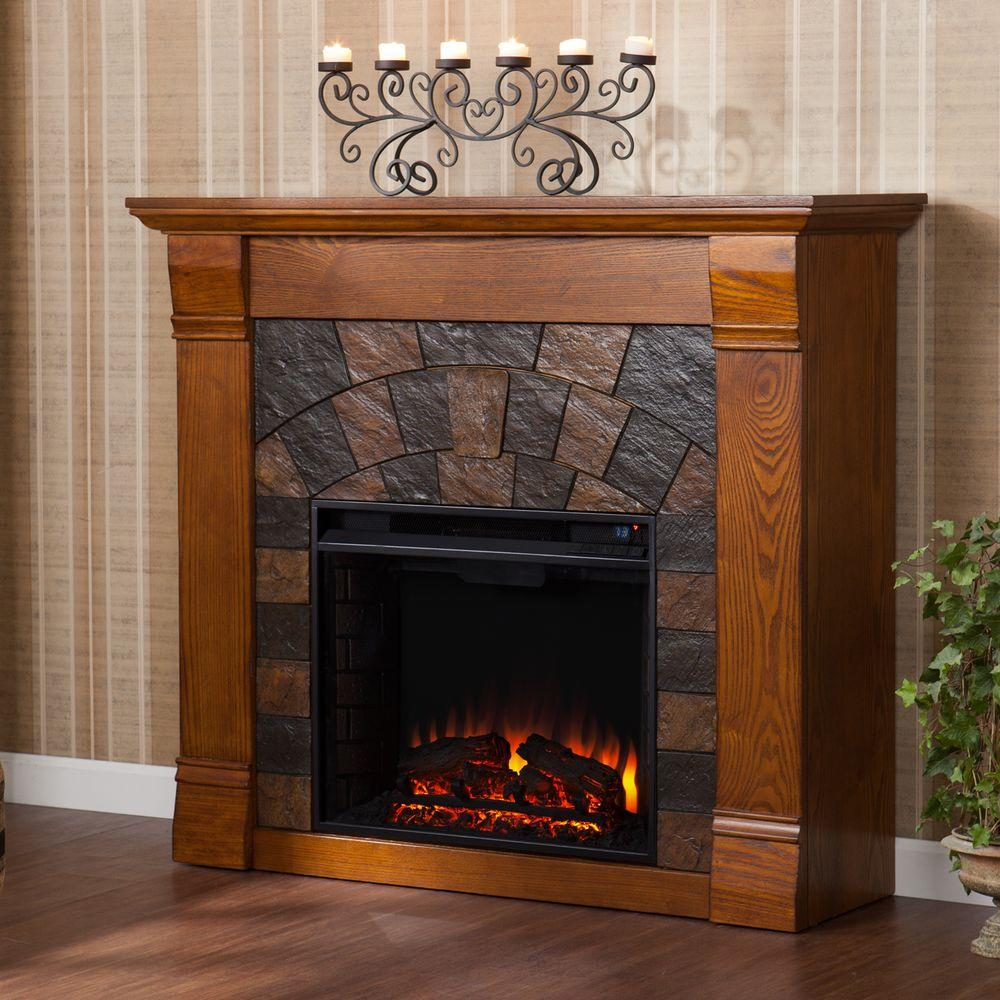 Freestanding Electric Fireplace In Salem Antique Oak