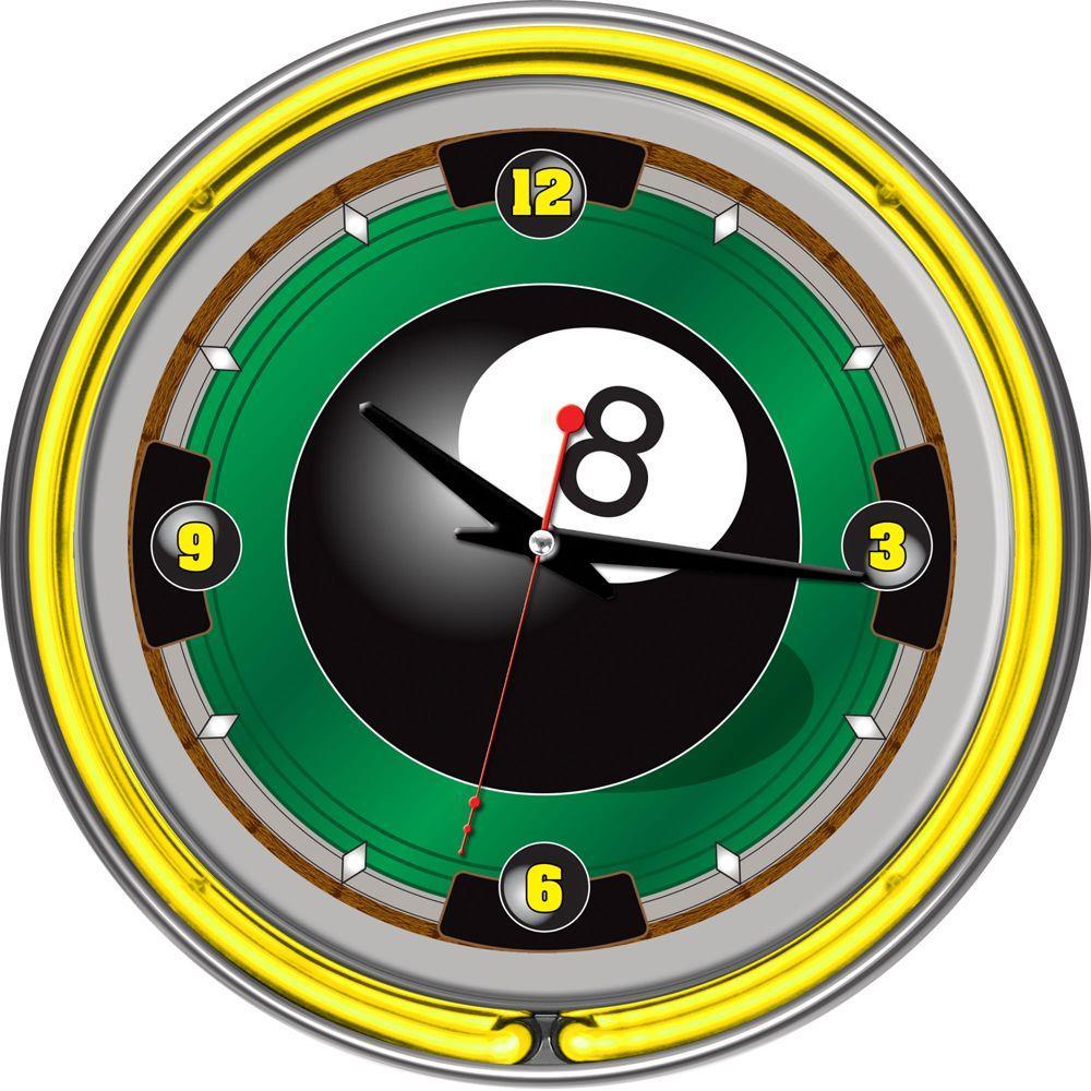 14 in. 8-Ball Neon Wall Clock