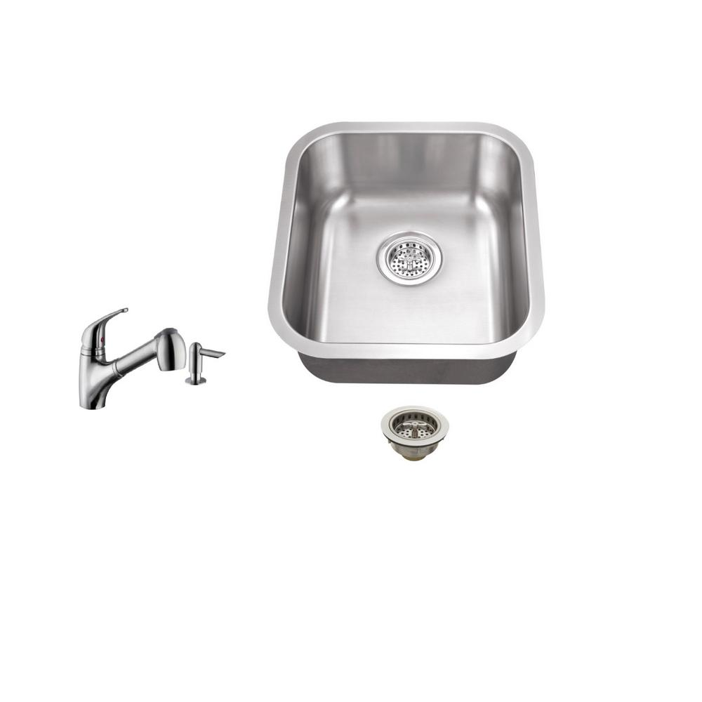 Undermount 16 in. 18-Gauge Stainless Steel Bar Sink in Br...