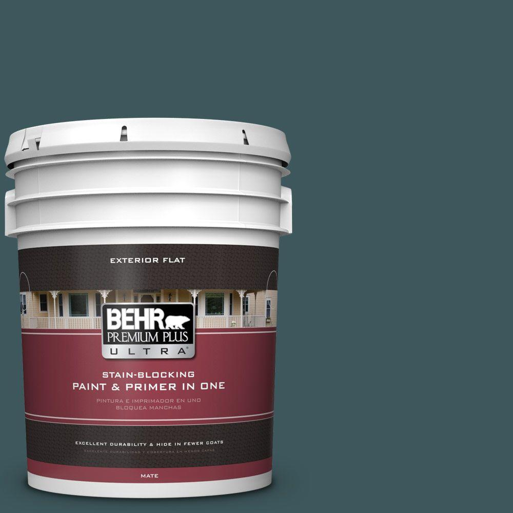 5-gal. #510F-7 Teal Forest Flat Exterior Paint