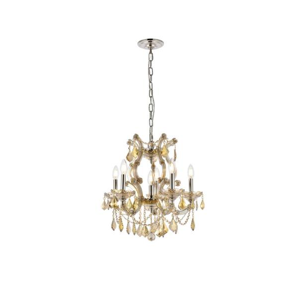 Timeless Home 20 in. L x 20 in. W x 25 in. H 6-Light Golden Teak with Golden Teak Crystal Contemporary Pendant