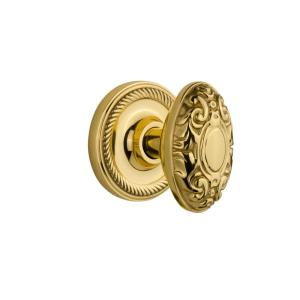 Nostalgic Warehouse Classic Rosette 2 3 8 In Backset Polished Brass Passage Hall Closet Victorian Door Knob 701168 The Home Depot