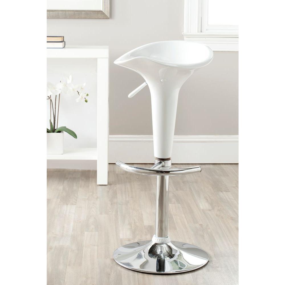 Jataya Adjustable Height White Bar Stool