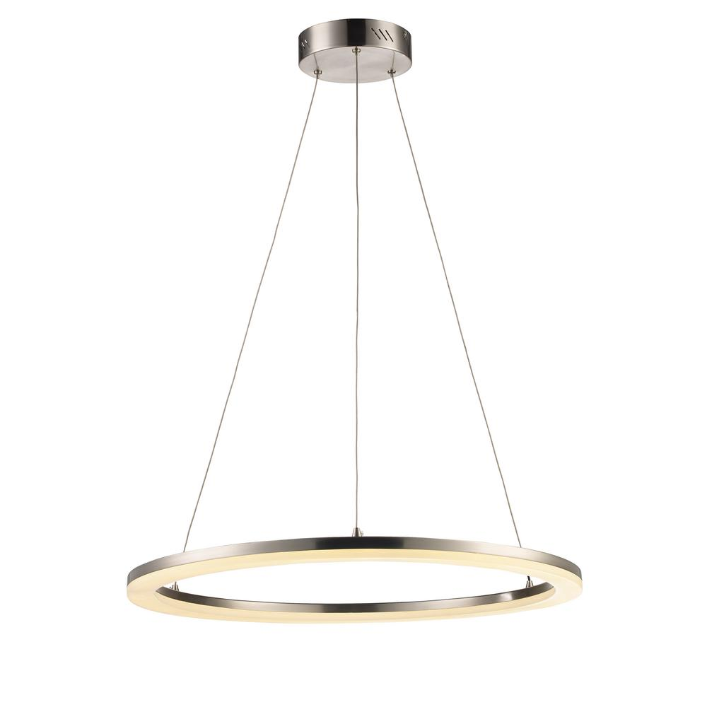 Monteaux Lighting Brushed Nickel and Acrylic Integrated LED Pendant