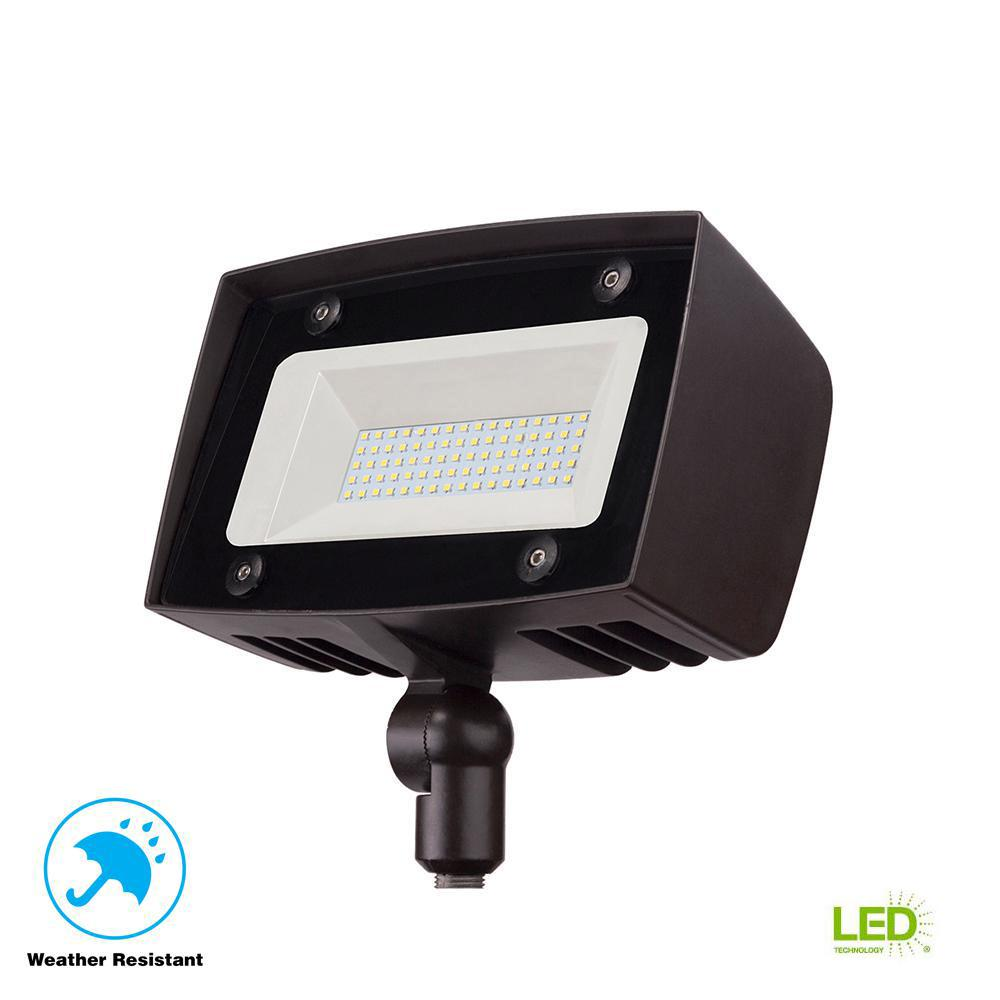 Single Outdoor Flood Light Fixture: Commercial Electric High-Output Architectural Dark Bronze