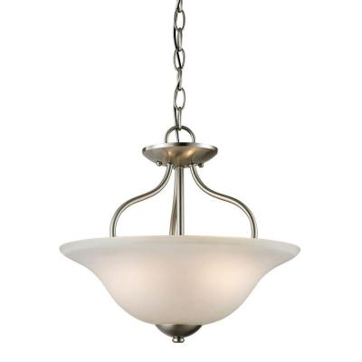 Conway 2-Light Brushed Nickel Ceiling Semi-Flush Mount Light