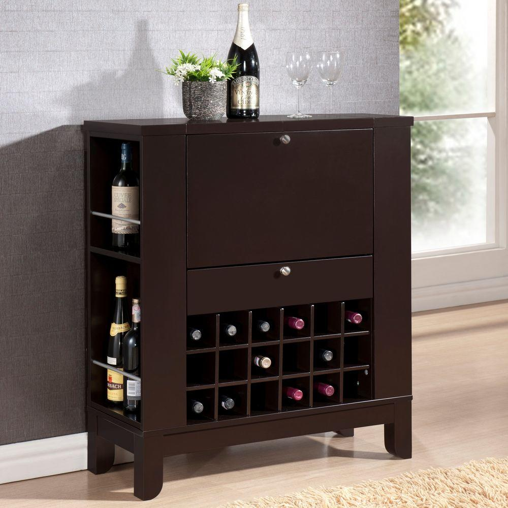 Modern Home Bar Cabinet: Baxton Studio Dark Brown Bar Cabinet-28862-5407-HD