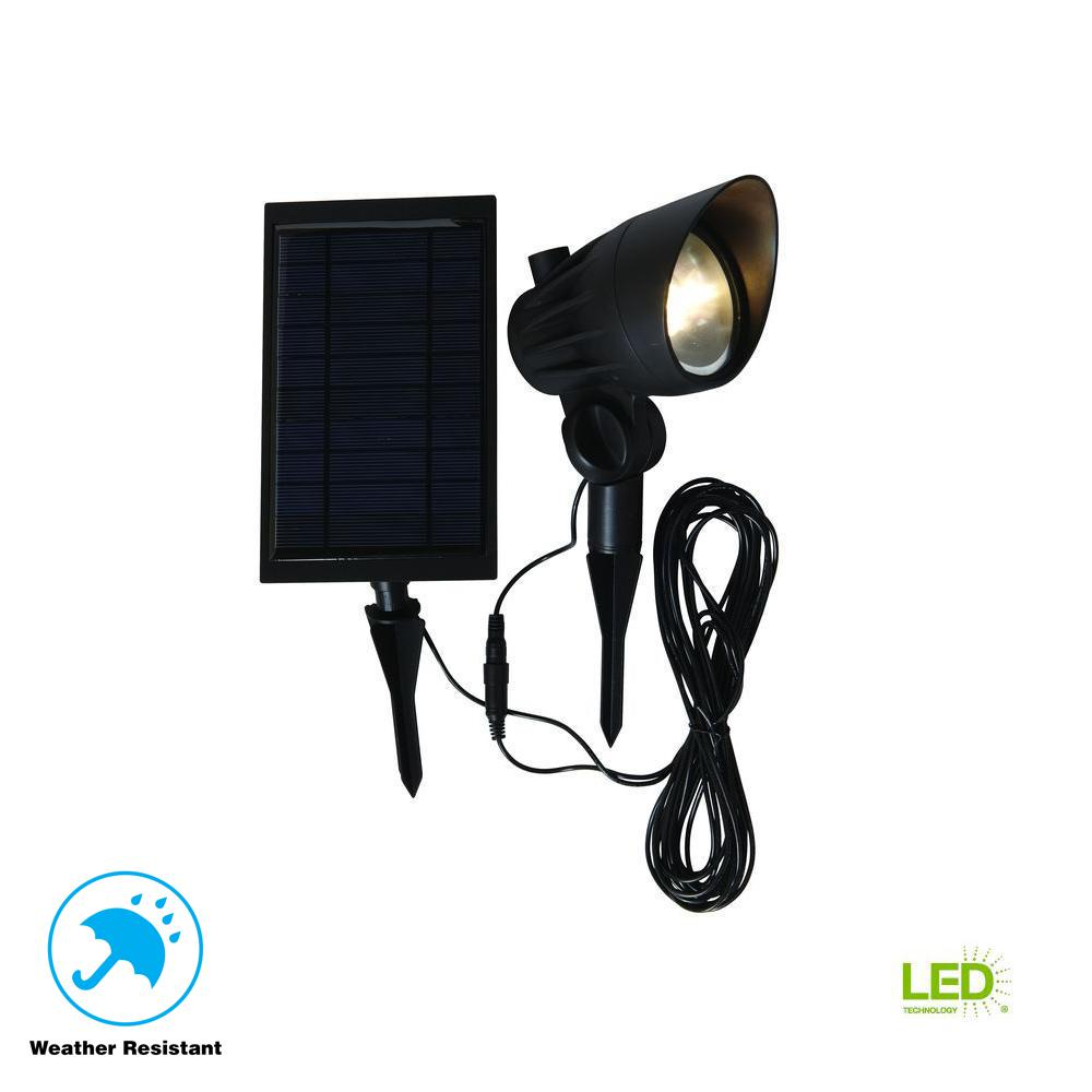 Hampton Bay Solar Black Outdoor Integrated Led 3000k 70 Lumens Landscape Spot Light With Panel And Wire Nxt 3149 The Home Depot