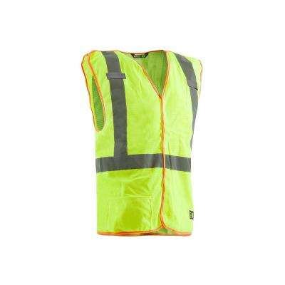 Men's Large Yellow Polyester Mesh Hi-Visibility Easy-Off Vest