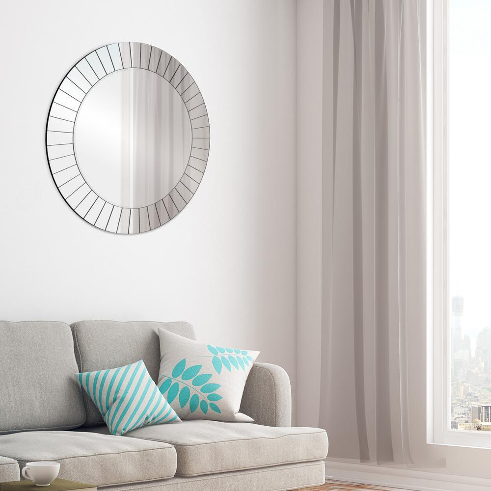 Pinnacle Frameless Beveled Round Silver Decorative Mirror