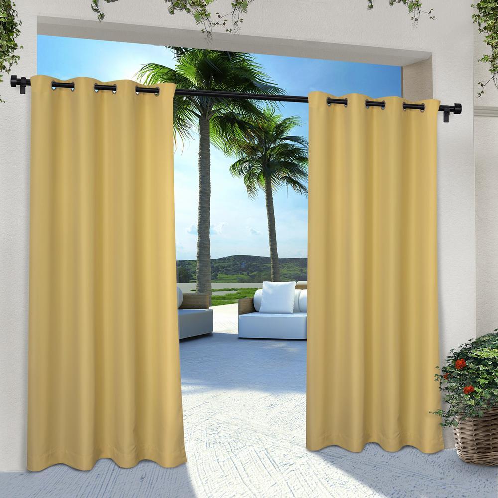 Indoor Outdoor Solid 54 in. W x 96 in. L Grommet Top Curtain Panel in Sundress Yellow (2 Panels)