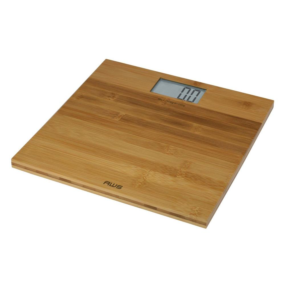 American Weigh Scales Digital Bathroom Scale In Bamboo