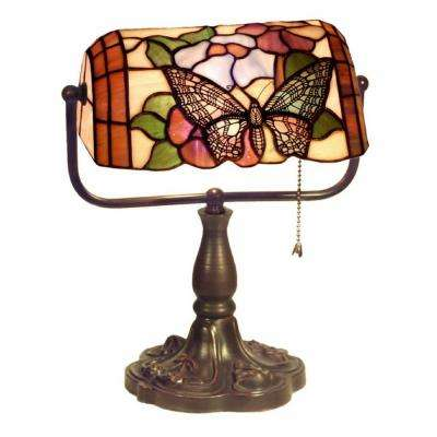 13 in. Butterfly Multicolored/Brown Desk Lamp with Pull Chain