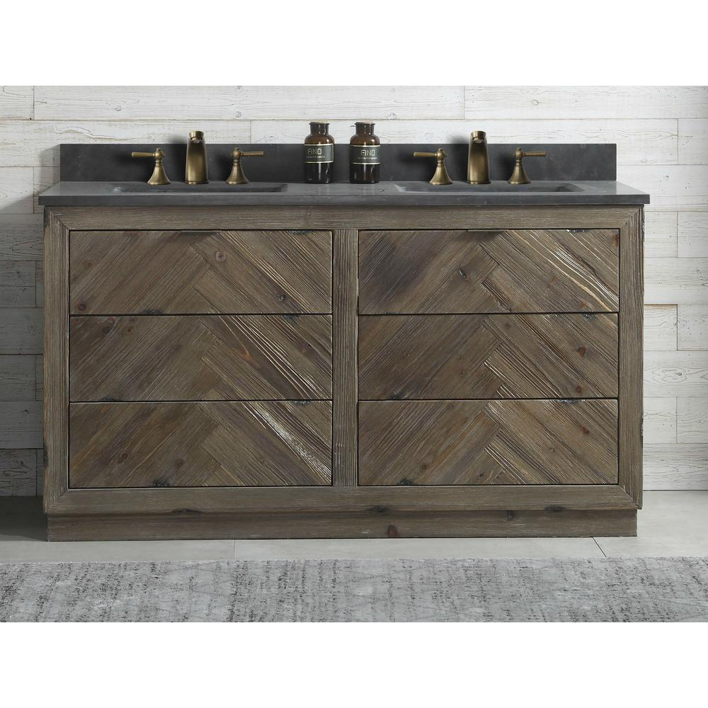 Vanity In Brown With Black Moon Stone Top White Basin