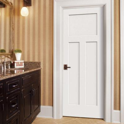 30 in. x 80 in. Craftsman White Painted Right-Hand Smooth Solid Core Molded Composite MDF Single Prehung Interior Door