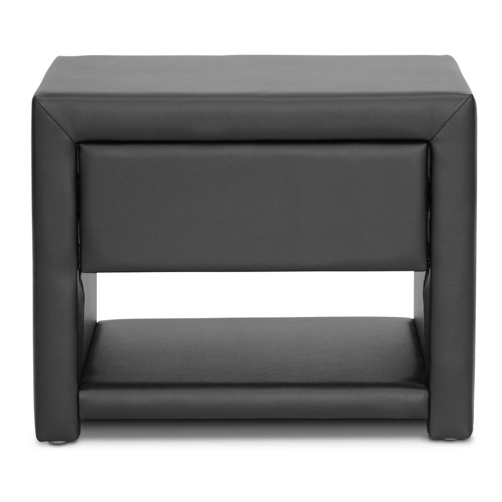 Massey 1-Drawer Glam Black Faux Leather Nightstand
