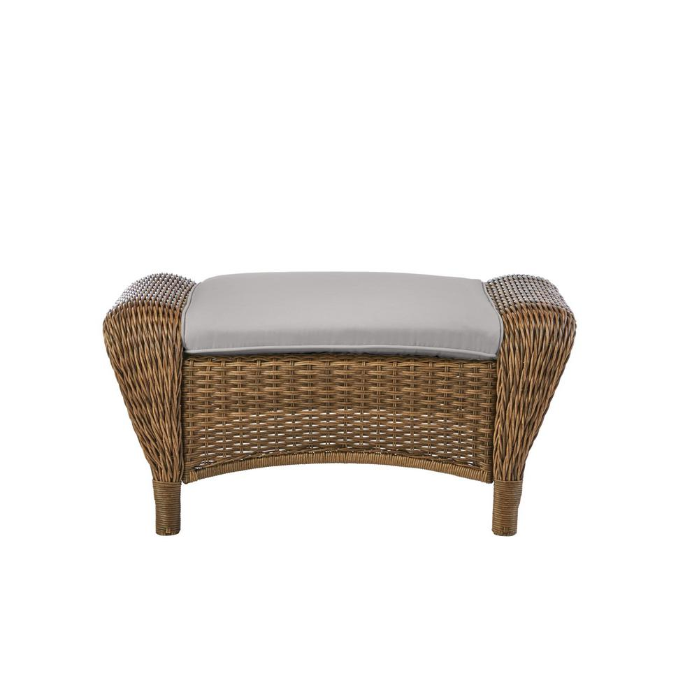 Hampton Bay Beacon Park Brown Wicker Outdoor Patio Ottoman with CushionGuard Stone Gray Cushions was $209.0 now $165.11 (21.0% off)
