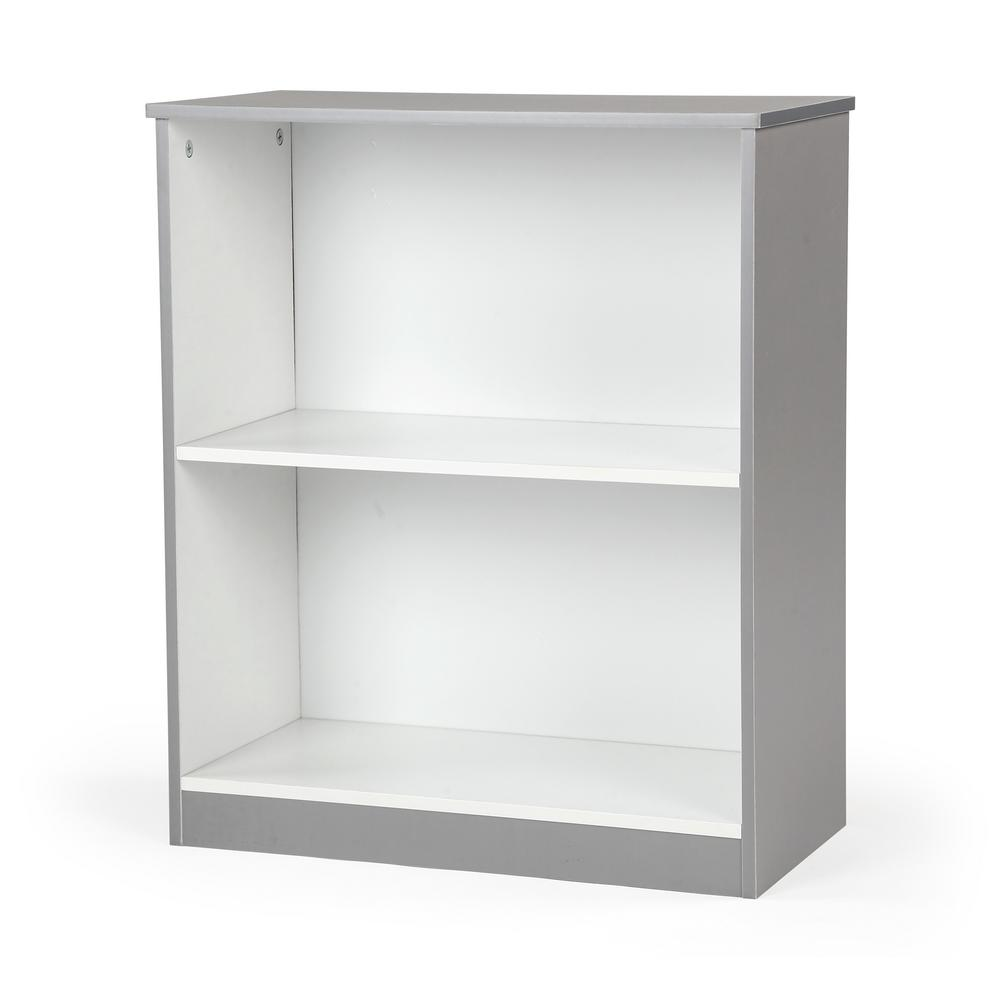 Grey And White 2 Shelf Bookcase