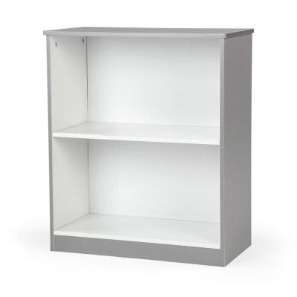 Grey and White 2-Shelf Bookcase