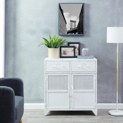 Brezla Distressed White Industrial Accent Cabinet