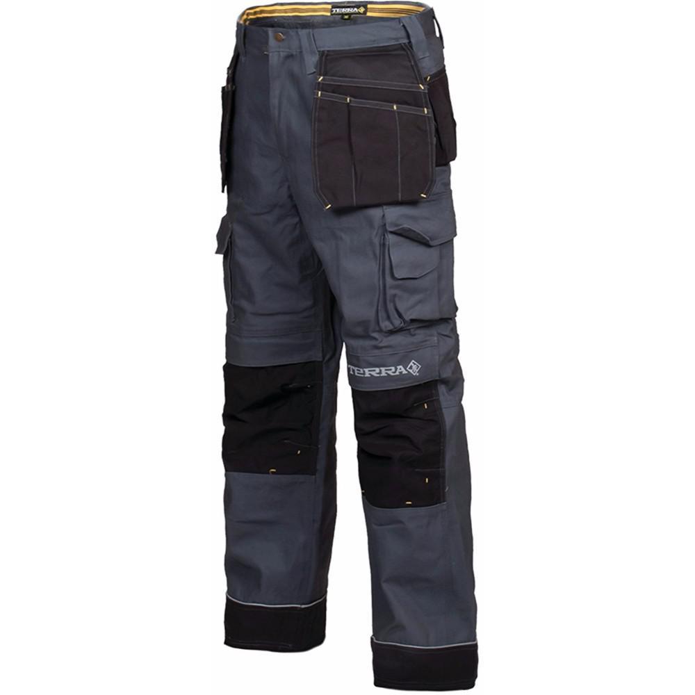 Terra Men's 38x32 Grey Brick Heavy Duty Multi Pocket Canvas Cargo Work Pant by Terra