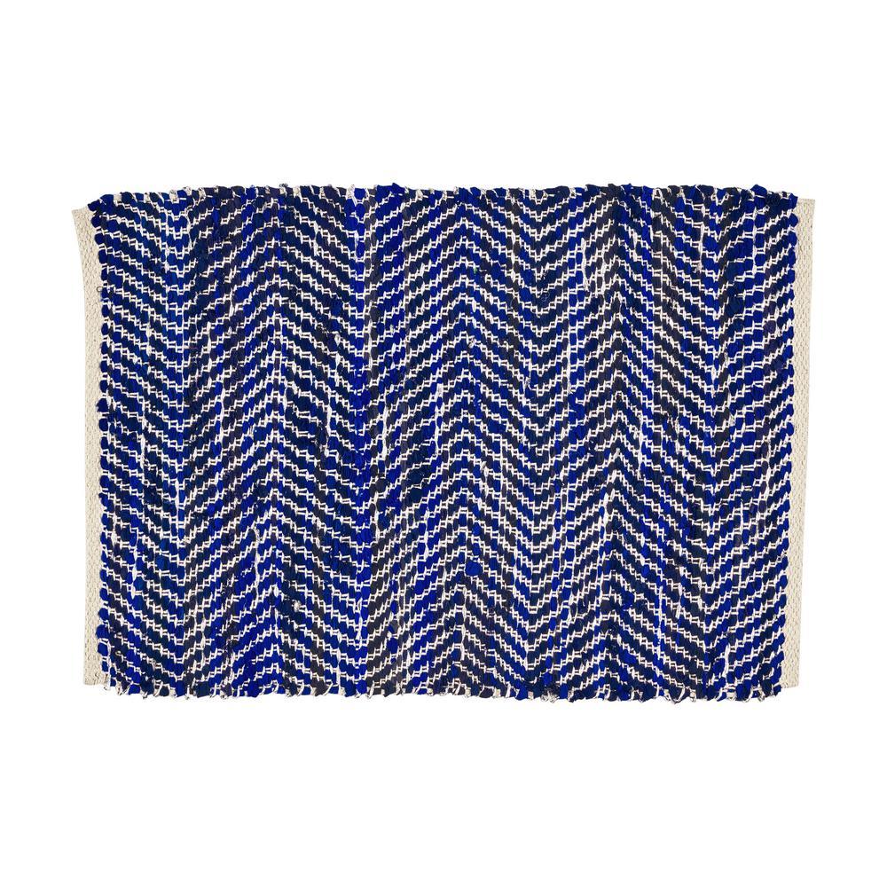 Bernette Blue and Silver 2 ft. x 3 ft. Chevron Cotton Area Rug