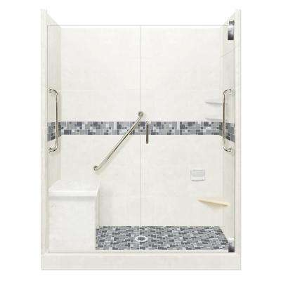 Newport Freedom Grand Hinged 30 in. x 60 in. x 80 in. Center Drain Alcove Shower Kit in Natural Buff and Chrome Hardware