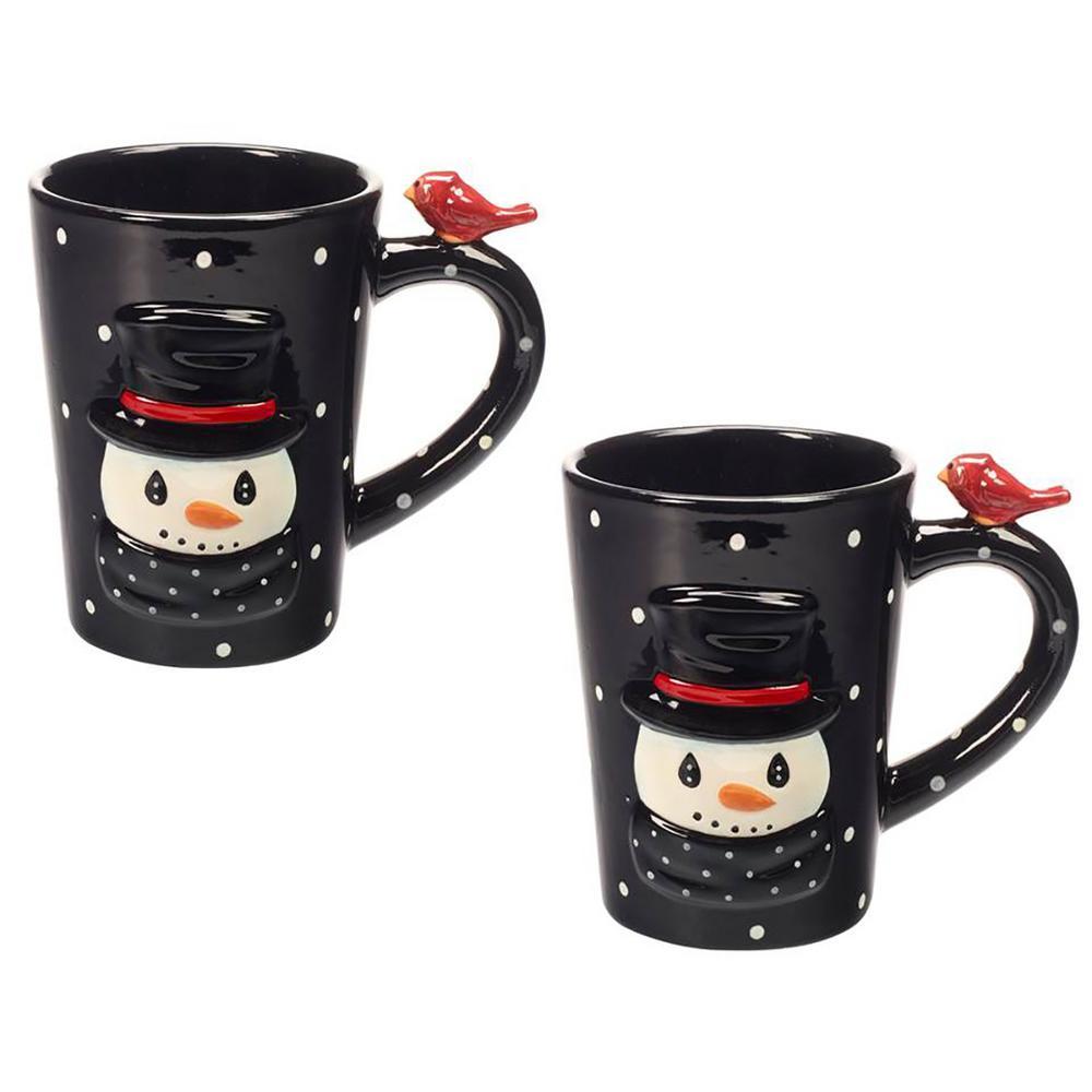 Snowman 9 oz. Multi Colored Dolomite Mugs (Set of 2)