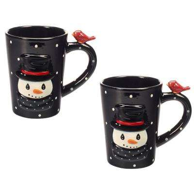 Snowman 9 oz. Multi Colored Dolomite Mugs (Set of 2)
