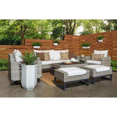 Milo Grey 7-Piece Wicker Motion Patio Deep Seating Conversation Set with Sunbrella Moroccan Cream Cushions