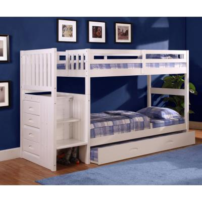 White Twin over Twin Solid Pine Staircase Bunkbed with 4-Drawer Chest and Twin Trundle