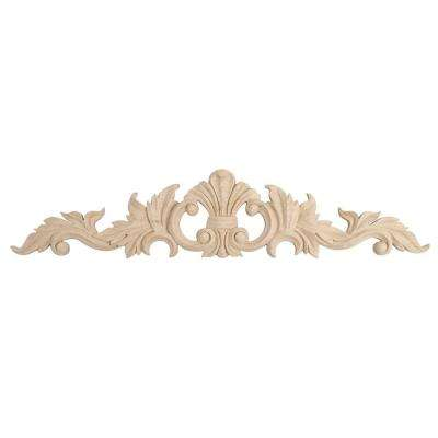 6-1/2 in. x 30 in. x 3/4 in. Unfinished Hand Carved North American Solid Hard Maple Wood Onlay Acanthus Wood Applique