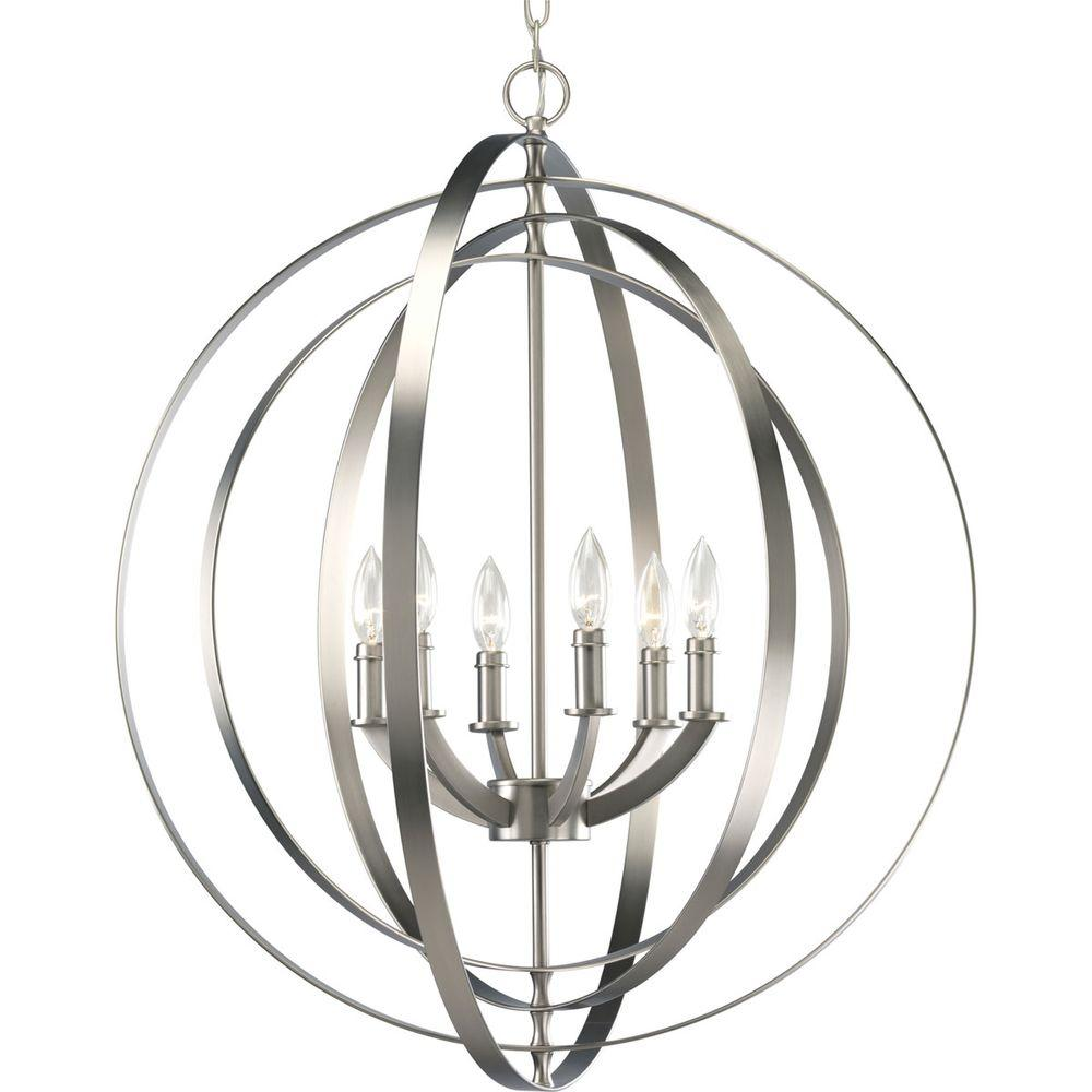 Progress Lighting Equinox Collection 6-Light Burnished Silver Orb Pendant