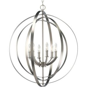 progress lighting equinox collection 6light burnished silver orb the home depot