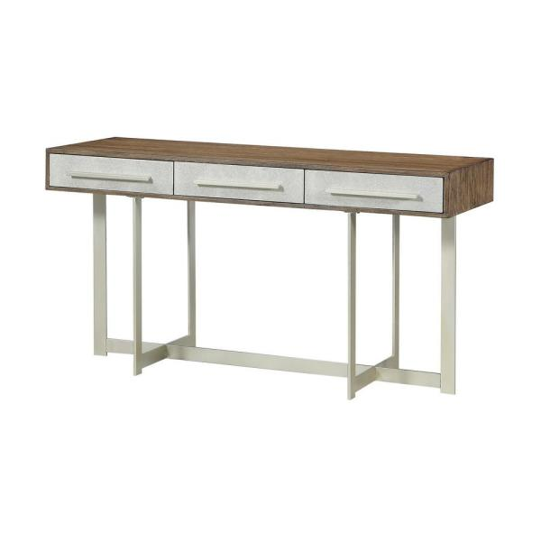 Coast to Coast Balboa Brown and Gold 3-Drawer Writing Desk/Console
