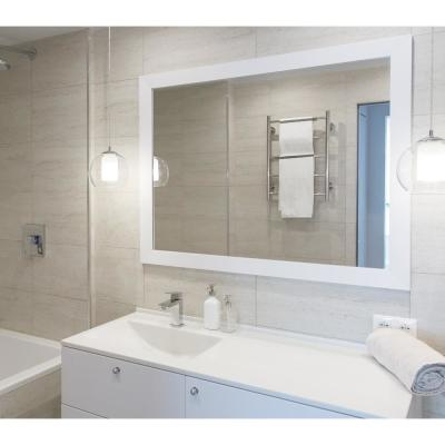 Large Rectangle White Modern Mirror (53.5 in. H x 41.5 in. W)