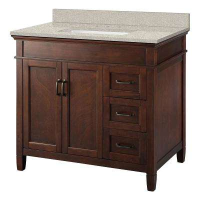Ashburn 37 in. W x 22 in. D Vanity in Mahogany with Engineered Marble Vanity Top in Sedona with White Sink